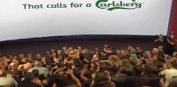 Carlsberg stunts with bikers in cinema